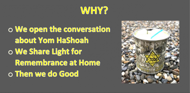 Why? We open conversation about Yom HaShoah, We share Light for Remembrance at Home, Then we do Good.